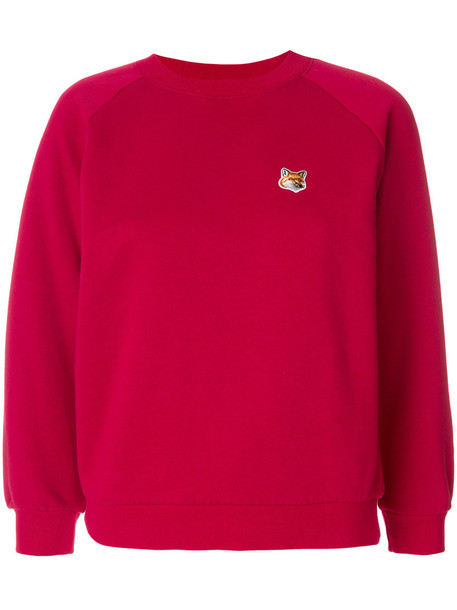 maison kitsune sweatshirt embroidered fox women cotton purple pink sweater