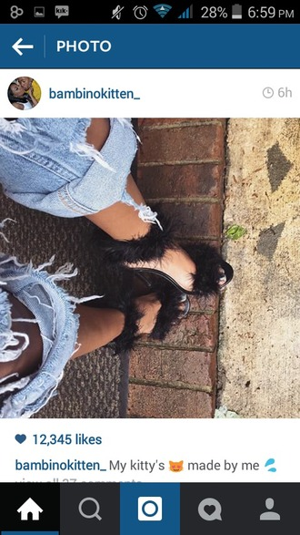 shoes high heels black ripped jeans
