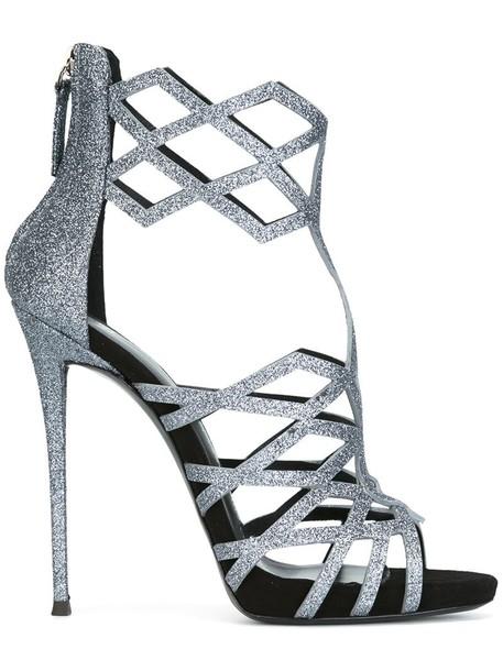 GIUSEPPE ZANOTTI DESIGN women sandals leather grey metallic shoes