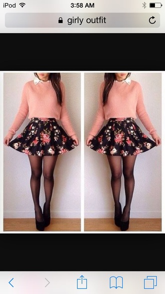 skirt tumblr outfit sweater tights hat shoes