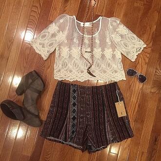 shorts divergence clothing lace crop top white lace croptop aztec aztec shorts aztec stlye boho chic coachella boho patterns shorts