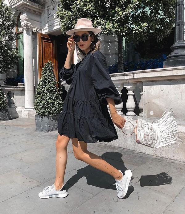 hat black dress dress sneakers straw hat bag white bag sunglasses. d8b02c07b147