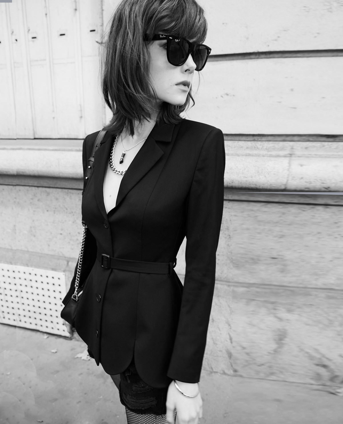 Black wool suit jacket with belt and openings