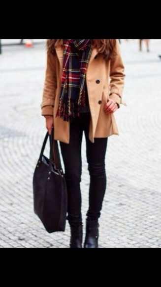 coat trench coat brown beige beige jacket winter outfits flannel scarf