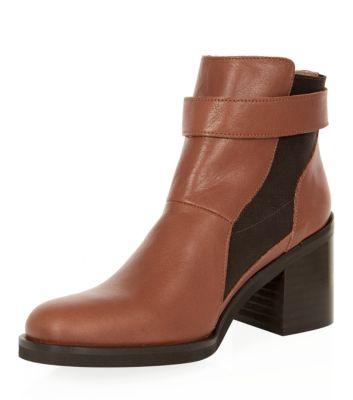 Tan Block Heel Chelsea Boots