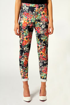 Rosie Floral Print Scuba Side Zip Trousers at boohoo.com
