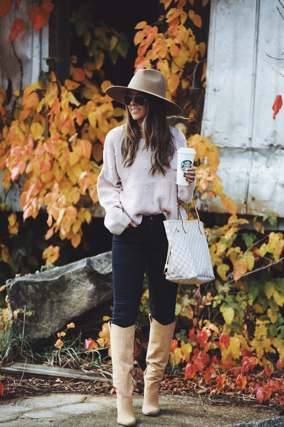 fashionably kay blogger sweater jeans shoes jewels hat fall outfits felt hat boots louis vuitton bag