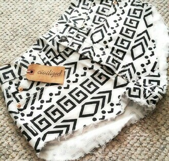 shorts black and white aztecy high waisted shorts