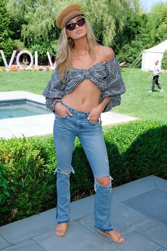 top off the shoulder off the shoulder top jeans romee strijd crop tops model off-duty