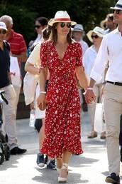 dress,red dress,pippa middleton,celebrity style,celebrity,sandals