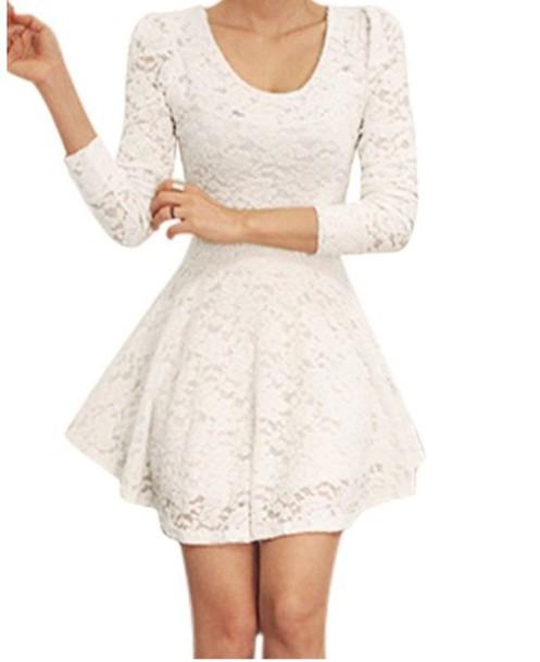 28bda563aaf8 dress white lace skater low cut shor dress white dress white short dress  skater dress lace