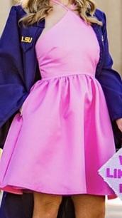 dress,pink halter satin dress