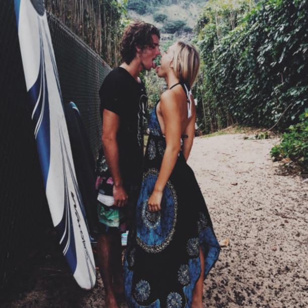 dress derss cute hot boy nice blue hippie surf beach summer classy girly casual cool black black dress blue dress tan beautifuk love alexis ren sundress pretty hawaiian halter neck jay alvarrez