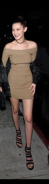bodycon,long sleeve dress,long sleeves,sexy dress,bella hadid,off the shoulder,green,olive green,knitted dress