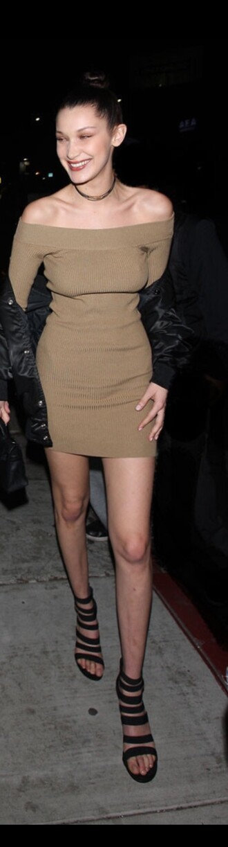 bodycon long sleeve dress long sleeves sexy dress bella hadid off the shoulder green olive green knitted dress