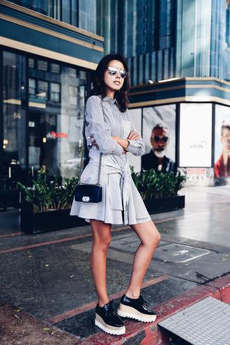 viva luxury blogger striped dress long sleeve dress mini bag designer bag platform shoes dior sunglasses dior so real stella mccartney bag velvet bag blue bag shoulder bag chanel bag