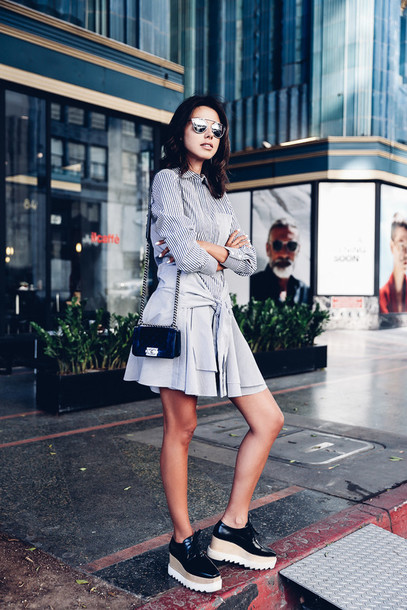 viva luxury blogger striped dress long sleeve dress mini bag designer bag platform shoes dior sunglasses dior so real stella mccartney bag velvet bag blue bag shoulder bag chanel bag