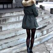 coat,green,warm,jacket,fluffy,winter jacket,navy green,faux fur jacket,fur trim hood,green parke fur hood,army green jacket,anycolour,this exact jacket please,love,boots,tights,green jacket,fashion,classy,girly,fall outfits,green kaki,khaki,cold,snow,green coat,fur,black shoes,fur coat,outside,shoes,black heels,heels,black,collants