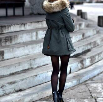 coat winter jacket navy green faux fur jacket fur trim hood green parke fur hood jacket green jacket green fashion classy girly fall outfits green kaki khaki cold snow green coat fur black shoes fur coat outside shoes black heels heels black collants