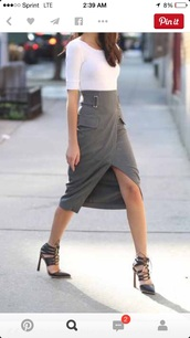 skirt,grey,split wrapped,pencil skirt,neoprene,shoes
