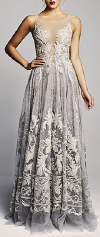 dress gray grey silver lace sheer gown long sleeveless