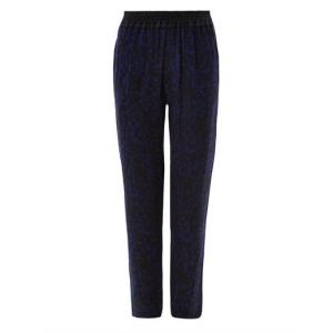 Isabel Marant Black/Royal Blue - Leopard-print Musk Silk Trousers - Sale