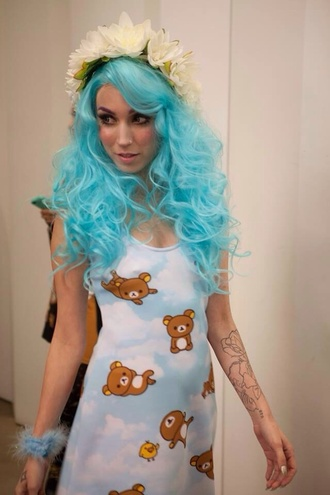 dress blue dress rilakkuma dress kawaii cute clouds rilakkuma