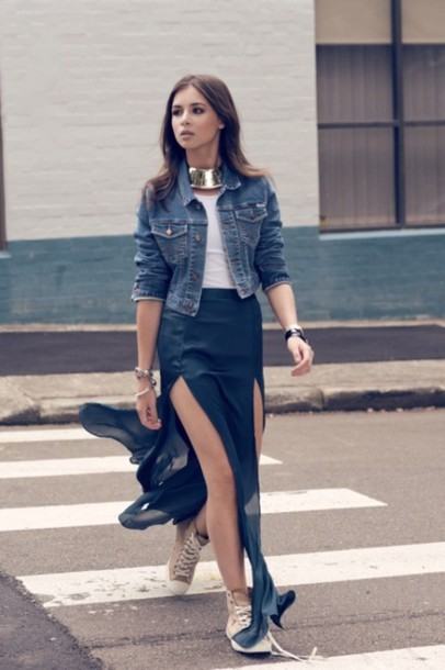 229eaf5621 gold necklace blue skirt white crop tops denim jacket black skirt model  streetstyle slit skirt double