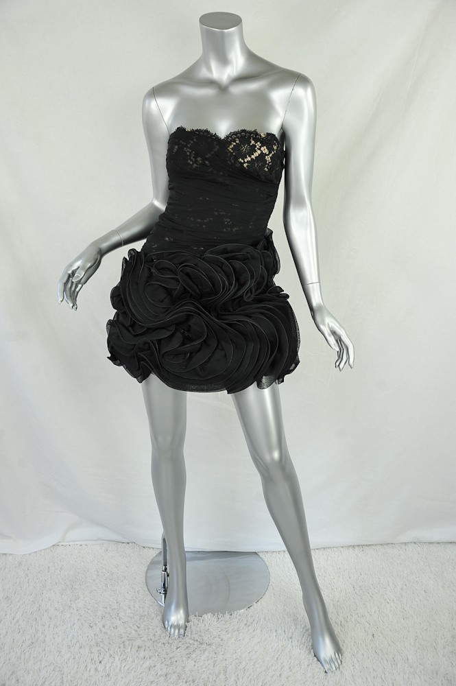 Valentino Black Strapless Lace Silk Chiffon Pleated Embellished LBD Dress XS | eBay