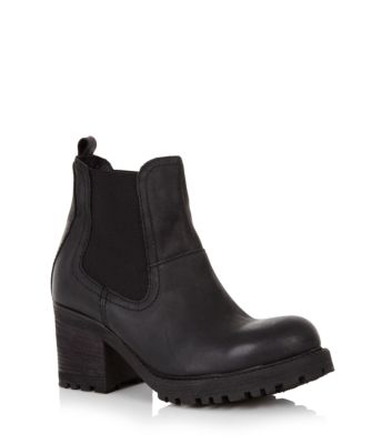 Black Leather Chunky Sole Chelsea Boots