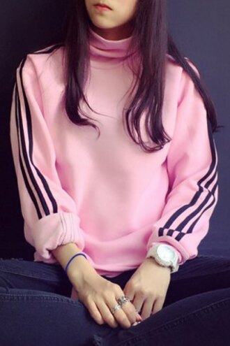sweater pink sporty turtleneck long sleeves preppy style turtleneck long sleeve striped sweatshirt for women comfy cool rosegal dec
