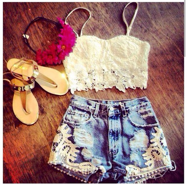 blouse bralette hat hair accessory crop tops denim shorts headband sandals top