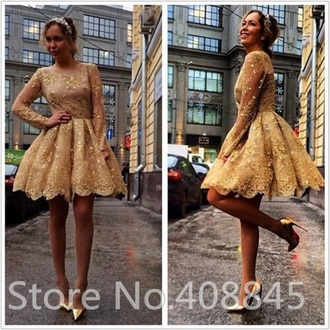 dress gold short short dress gold dress cute poofy nice grad