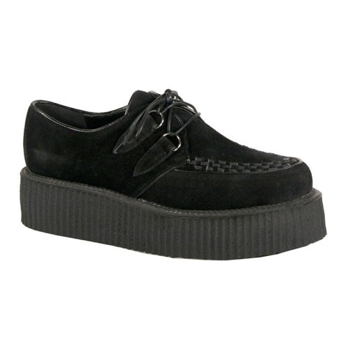 V-Creeper 502S Black faux suede Lace Up Platform Creepers - Demonia Mens/Unisex Creepers - Demonia Footwear
