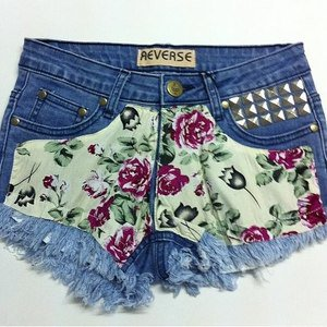 Reverse Floral Ripped Denim Shorts on Wanelo