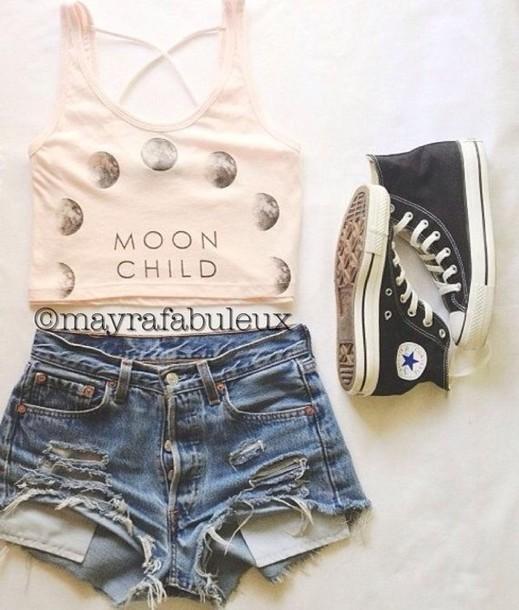 shorts tank top high waisted denim shorts converse summer outfits shirt tank top white cropped cut offs blouse
