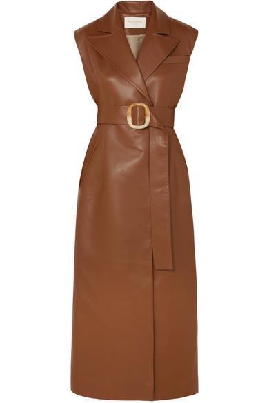 Belted Vegan Leather Dress