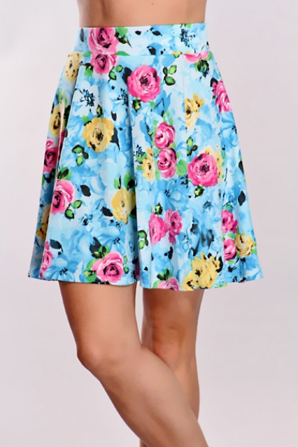 Blue Floral Skater Skirt @ Amiclubwear Clothing Skirts Online Store:Long Skirt,Mini Skirts,Poodle Skirt,Plaid Mini Skirt,Micro Mini Skirt,Jeans Skirts,Black Mini Skirt,Up Skirt,Short Skirts,Leather Skirts,Pencil Skirts,High Waist Pencil Skirt,Pleated Skir