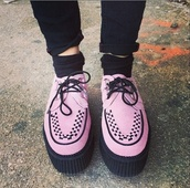 shoes,pink,hot pink,creepers,style