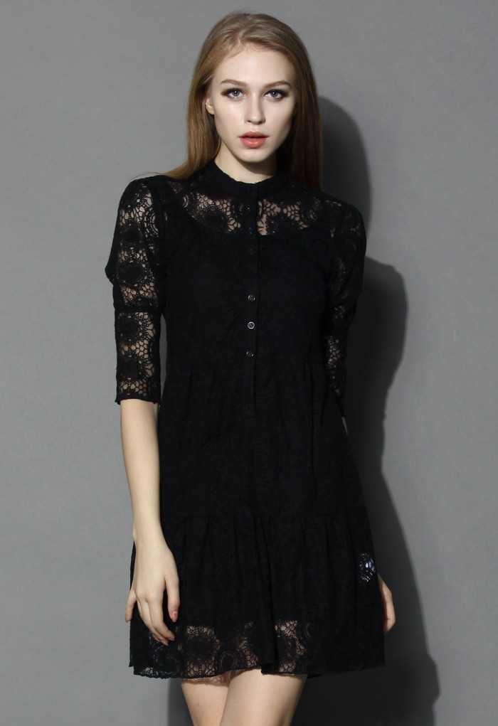Sunflower Crochet Dress in Black - Retro, Indie and Unique Fashion
