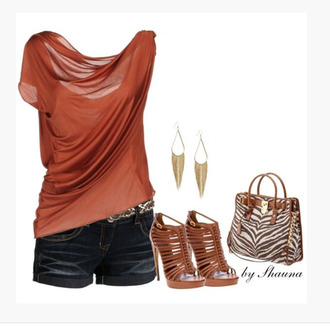 blouse top shirt off the shoulder chiffon see through draped soft burnt orange high heels multi-strap heels earrings bag purse print bag zebra stripes burnt sienna rusty brown clothes outfit date outfit