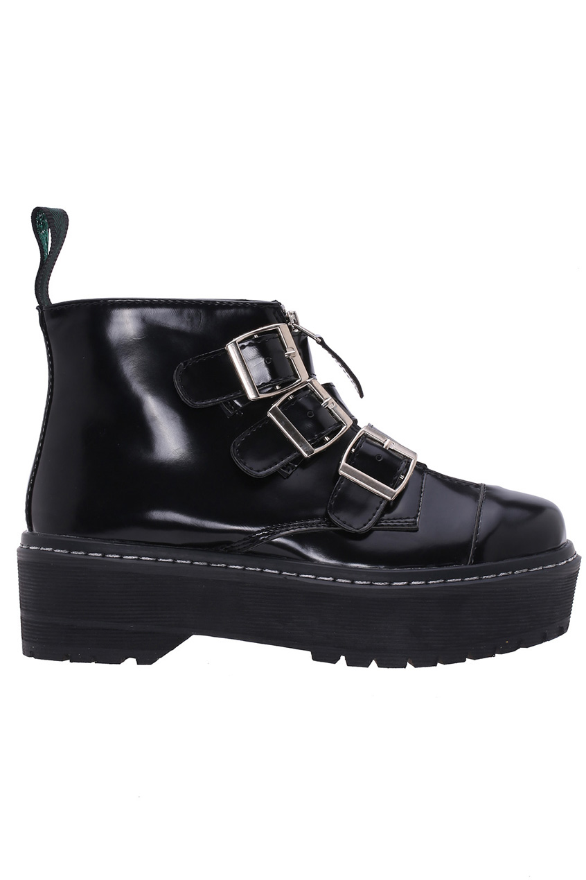 ROMWE | Buckled Zippered Black Platform Shoes, The Latest Street Fashion
