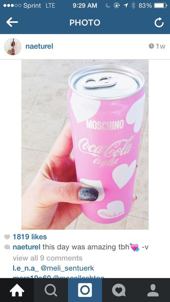 home accessory pink coke drink coca cola
