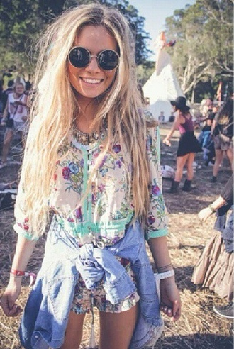 hippie hipster dress romper festival hot coachella colorful blouse sunglasses fashion summer dress denim jacket denim shirt flowered shorts floral dress jewels blonde hair boho indie gypsy summer girl sweet flowers jeans love lovel blond necklace moon necklace