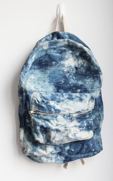 bag backpack clouds light blue white sky sky blue
