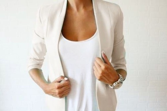white white blazer blazer jacket cream clean lines clothes light cream blazer collarless blazer collarless minimal minimalistic