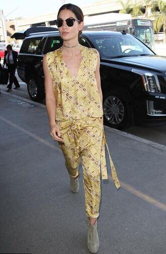 dress tunic dress yellow lily aldridge ankle boots sunglasses