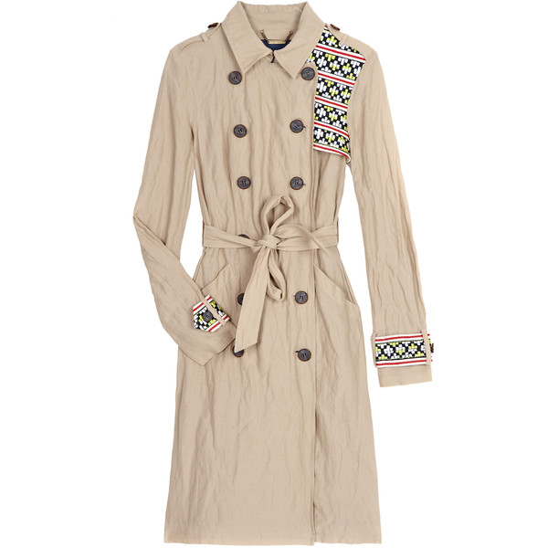 Gryphon aztec embroidery trench