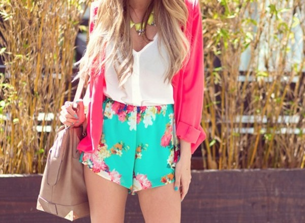 shorts floral bright summer blouse bag pants shorts #blouse #flowers green short pink shirt flowered shorts summer outfits yellow necklace pink vest pink cardigan pink loose cardigan white blouse flower turquoise jacket coral jacket