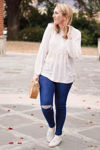 glitter&spice blogger bag top pants shoes shirt espadrilles cult gaia bag spring outfits jeans